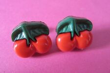 Kitsch Cute Red Green Cherries Cherry Fruit Stud Earrings New Retro Boxed