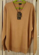 "GABICCI UOMO Men's Brand New Jumper L 52"" Chest Wool-Blend Sweater Peachy Camel"