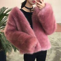 Womens Shaggy Faux Fur V Neck Long Sleeves Parka Jacket Winter Warm Outwear Coat