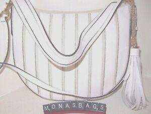 Michael Kors Brooklyn Applique Tassel Hobo Shoulder Bag Natural White Leather