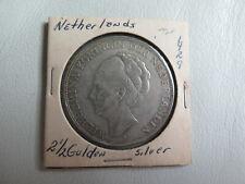 1929 Netherlands 21/2 Gulden Silver Coin Dutch Queen Wilhelmina  (#11)