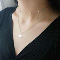 Doppel Halskette Choker Plättchen echt Sterling Silber 925 Damen Collier