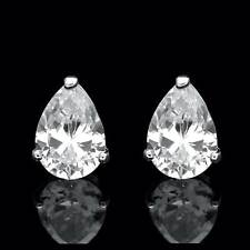 1.5ct Pear Shape Created Diamond Earrings Studs 14K White Gold Heavy Basket