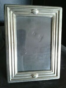 """CRAFT INC freestanding silver plated photo frame Art Deco style 7 1/2 x 5 1/2"""""""