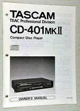 Tascam TEAC CD-401MKII CD Player Owner's Instruction Manual