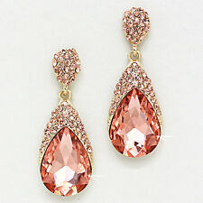 Beautiful Vintage Inspired Peach Crystal Teardrop Earrings (Sparkle-2390)