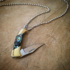 "Mini Folding Pocket Knife Necklace 1.5"" Steel ABALONE Handle Vintage Style Charm"