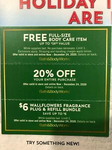 Bath & Body Works Three In Store Online Coupons - 20% Off Exp 12/24/2020