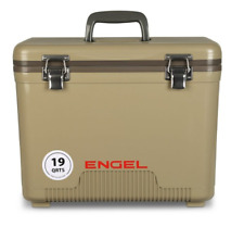 NEW DESIGN 2018 ! Engel Cooler Dry Box TAN 19 Quart w/ Shoulder Strap and Tray
