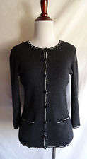 Ann Taylor Gray Extra Fine Merino Wool Gray Cardian Sweater Library Pocket Style