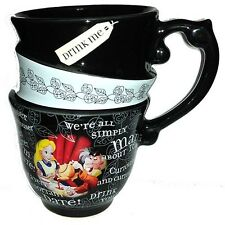 Disney Parks Alice in Wonderland Triple Quotes Stacked Ceramic Tea Cup Mug NEW
