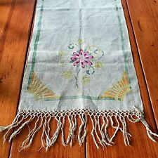 Vintage Natural Linen Table Runner Hand Painted Drawn Thread Tassel Hand Woven