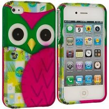 For Apple iPhone 4G 4GS Rubberized Matte Hard Design Cover Case Pink Green Owl