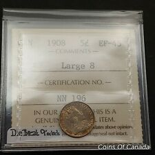 1908 Canada 5 Cent Coin - Old Graded ICCS EF-45 Large 8 Variety #coinsofcanada