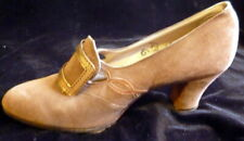 Antique 1920s Brown Suede & Leather Shoes Size 6