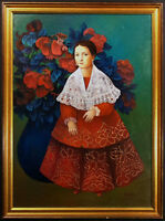"T.O. Platas ""The Woman in Red"" Original Oil Painting on Canvas, Make An Offer!"