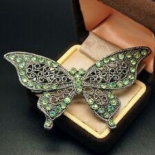 VINTAGE JEWELLERY Silver Tone Green AB Rhinestone Butterfly HAIR BARRETTE Clip