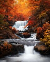 Autumn Waterfall - Forest Brown Trees Wall Art Large Poster / Canvas Pictures