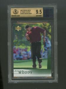 2001 Upper Deck #1, Tiger Woods ROOKIE, BGS 9.5 GEM MINT, WITH EVENT WORN SHIRT!
