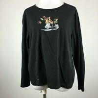 Liz Claiborne L large Black Knit Top Motor Scooter Puppy Xmas Gifts Christmas