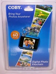 """COBY Digital Photo Keychain DP151 Blue Holds 60 Color Display 1.5"""" 4 Hrs Viewing"""