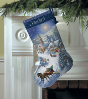 """""""Gold Collection Sleigh Ride At Dusk Stocking Counted Cross -16"""""""" Long 16 Count"""""""