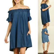PLUS SIZE WOMENS OFF THE SHOULDER BARDOT LADIES DENIM FRILL SHIRT DRESS TOPS