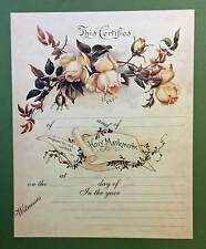 Yellow Roses Wedding Marriage Certificate Old Print Factory
