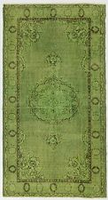 4x7 Ft  Green Color OVERDYED Handmade Vintage & Contemporary  Turkish Rug   d595