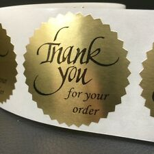 "50 THANK YOU FOR YOUR ORDER 2"" STICKER Starburst GOLD FOIL NEW THANK YOU NEW"