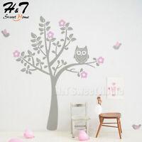 Tree Flowers Owl Birds Removable Vinyl Wall Sticker Decal Bedroom Nursery Decor