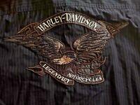 Harley Davidson Mens XL Embroidered Black Pinstripe Button Down Shirt Motorcycle