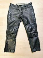 Lewis Leathers Motorcycle Black Leather Trousers diamond padding w36 RARE BLUF