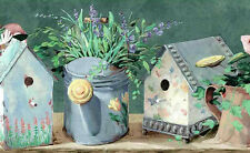 Birdhouses Wallpaper Border Green Taupe Blue Daisies Lilies FS4816B FREE SHIP
