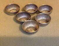 Antique Sterling Silver. Set of 5 Ribbed Salt Cellars.