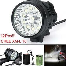 30000LM 12 x CREE XM-L T6 LED 6 x 18650 Bicycle Cycling Light Waterproof Lamp US