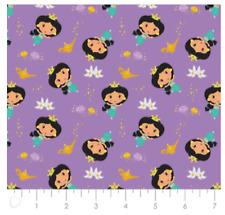 Disney Princess Kawaii: Jasmine Tossed On Purple- by Camelot Fabrics Sold BTY
