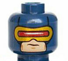 LEGO - Minifig, Head Male Mask w/ Red & Gold Visor Pattern (Cyclops) - Dk Blue