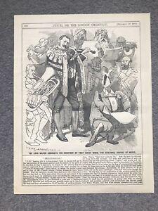 REGINALD HANSON MAYOR GUILDHALL SCHOOL OF MUSIC Engraving 1886 Antique ORCHESTRA