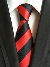 Classic Mens Necktie Fancy Silk Red Black Striped Ties Wedding Business XT-063