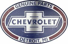 "CHEVROLET GENUINE PARTS OVAL METAL SIGN 18 X 12"" DETROIT MI RETRO CHEVY EMBOSSED"