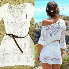 Ladies Summer Lace Hollow Knit Swimwear Cover up Crochet Beach Dress_BeautifPTH