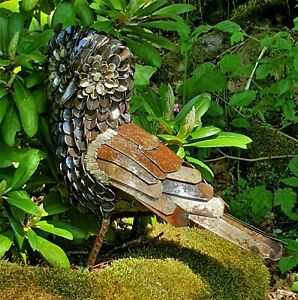 Metal Little Owl Garden Ornament Sculpture Art - Handmade Recycled Metal Bird