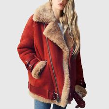 Womens Winter Warm Lambswool Coat Aviator Leather Jacket Thick Fake Fur Coat Hot