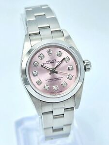 Ladies Rolex Oyster Perpetual 76080 24mm Pink Diamond Box & Papers 2007 Oyster