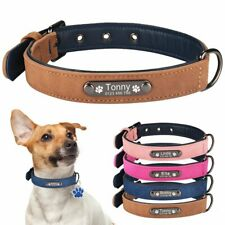 Personalized Dog Collar Adjustable Leather Free Engraved Small Medium Dogs Name