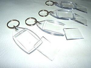 4x CLEAR ACRYLIC PLASTIC BLANK KEYRING 38mm x 26mm PHOTO KEY RING CUSTOM PICTURE