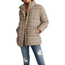 Vigoss Women's Plaid Print Quilted Winter Puffer Coat with Stand Collar