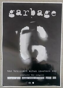 "GARBAGE ""THE BRILLIANT ALBUM IN-STORE NOW"" AUSTRALIA PROMO POSTER FROM 1995"