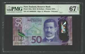 New Zealand 50 Dollars 2016 P194a Uncirculated Graded 67